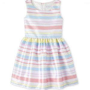 NWT Children Place Sleeveless Stripe Pleat Dress
